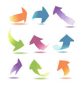 Arrows with lines vector illustration set — Stock Vector