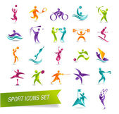 Colorful sports icon set vector illustration — Stock Vector