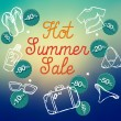 Hot summer sale banner vector illustration — Stock Vector