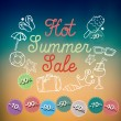 Hot summer sale banner vector illustration — Vettoriali Stock
