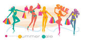 Summer shopping sale girl silhouettes — Stock Vector