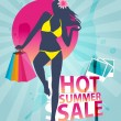 Summer shopping sale banner with fashion girl silhouette — Stock Vector