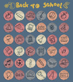 Freehand drawing school icons set — Stock Vector