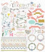 Cute stylish decorative elements — Stock Vector