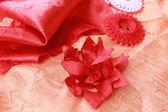 Vlákna a dekorativní květina — Stock fotografie