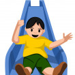 Kid sliding — Vector de stock