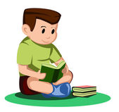 Boy read book — Stockvector