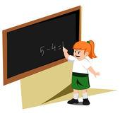 Girl write board — Stock Vector