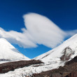 Landscape of snowy mountain with footpaith on peak — Stock Photo #19299609