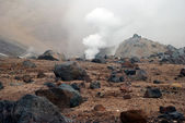 Volcanic vents with smoke, sulfur and ash. Located on Kamchatka — Stock Photo