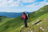 Hiker with backpack in Georgia mountains — Stock Photo