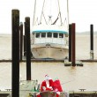 Santa Claus Fishing in the Bay - Stock Photo