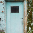 Blue Door in a Blue Brick Wall — Stock Photo