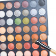 Colorful Eye Shadow Make Up Palette With Brush. — Stock Photo