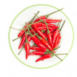 Red hot chillies pepper plate isolated on white background. — Stock Photo