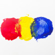 Three spots of primary color isolate on white background. — Stock Photo