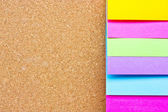 Six colorful sticky notes on wooden board. — Stock Photo