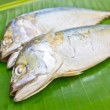 Mackerels with green banana leaf. — Stock Photo