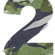 2, number from military fabric texture on white background. — Foto Stock