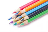 Close up of color pencils isolated on white background. — Stock Photo
