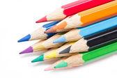 彩色铅笔在白色背景上孤立的关门. — 图库照片