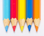 Color pencils five pieces in a roll. — Stock Photo