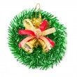 Green christmas wreath with golden bells. — 图库照片