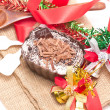 Chocolate moose dessert decorating with accessories. — Stock Photo #32167505