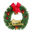 Green christmas wreath red ribbon. — Stock Photo