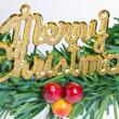 Stock Photo: Close up of green wreath with Merry Christmas plate.