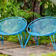 Blue garden metal chairs. — Stock Photo