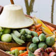 Vegetables on boat at the floating market. — Stock Photo