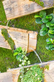 ガーデニングの設計、木製の箱で滝. — ストック写真