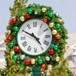 Christmas balls decoration clock. — Stock Photo