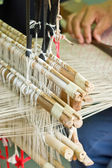 Close up of silk weaved machine. — Stock Photo