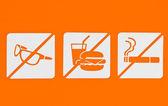 No sunglass no food no smoking. — Stock Photo