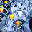 Stock Photo: Many alloy wheels for sale.