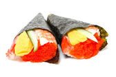 Hand rolled temaki sushi — Stock Photo