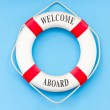 Life buoy with artificial birdcage — Stock Photo