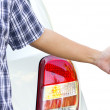 Hand hitchhiking by a broken car. — Stock Photo