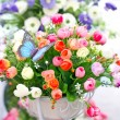 Artificial Decorated Flowers. — Stock Photo