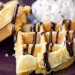 Baked waffle with ice cream. — Stock Photo #32603215