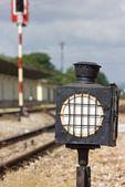 Old steel train sign lantern — Stock Photo