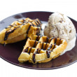 Stock Photo: Baked waffle with ice cream.