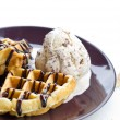 Baked waffle with ice cream. — Stock Photo #32622149