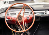 Damaged vintage steering wheel car. — Stok fotoğraf