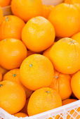 Orange fruit in plastic crate. — Stock Photo