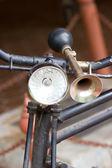 Vintage bicycle horn on handlebar. — Stock Photo