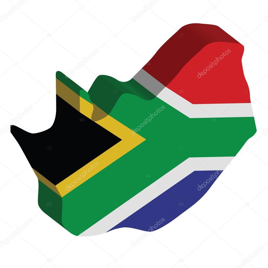 南非的 3d 矢量国旗地图– 图库插图