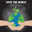 Save the world conceptual illustration. — Stok Vektör